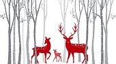 Vector Illustration of Red christmas deer with birch tree