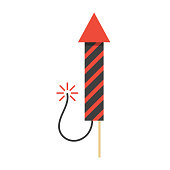red christmas firework rocket icon. concept of new year celebrations, fun party, firecracker and safe pyrotechnics. isolated on white background. flat style design modern vector illustration