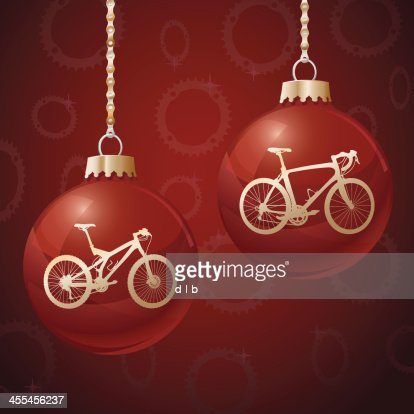 red christmas ornament balls with bikes vector art getty images - Bicycle Christmas Ornament