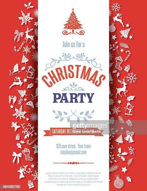 Modèle d'Invitation à la fête de Noël rouge