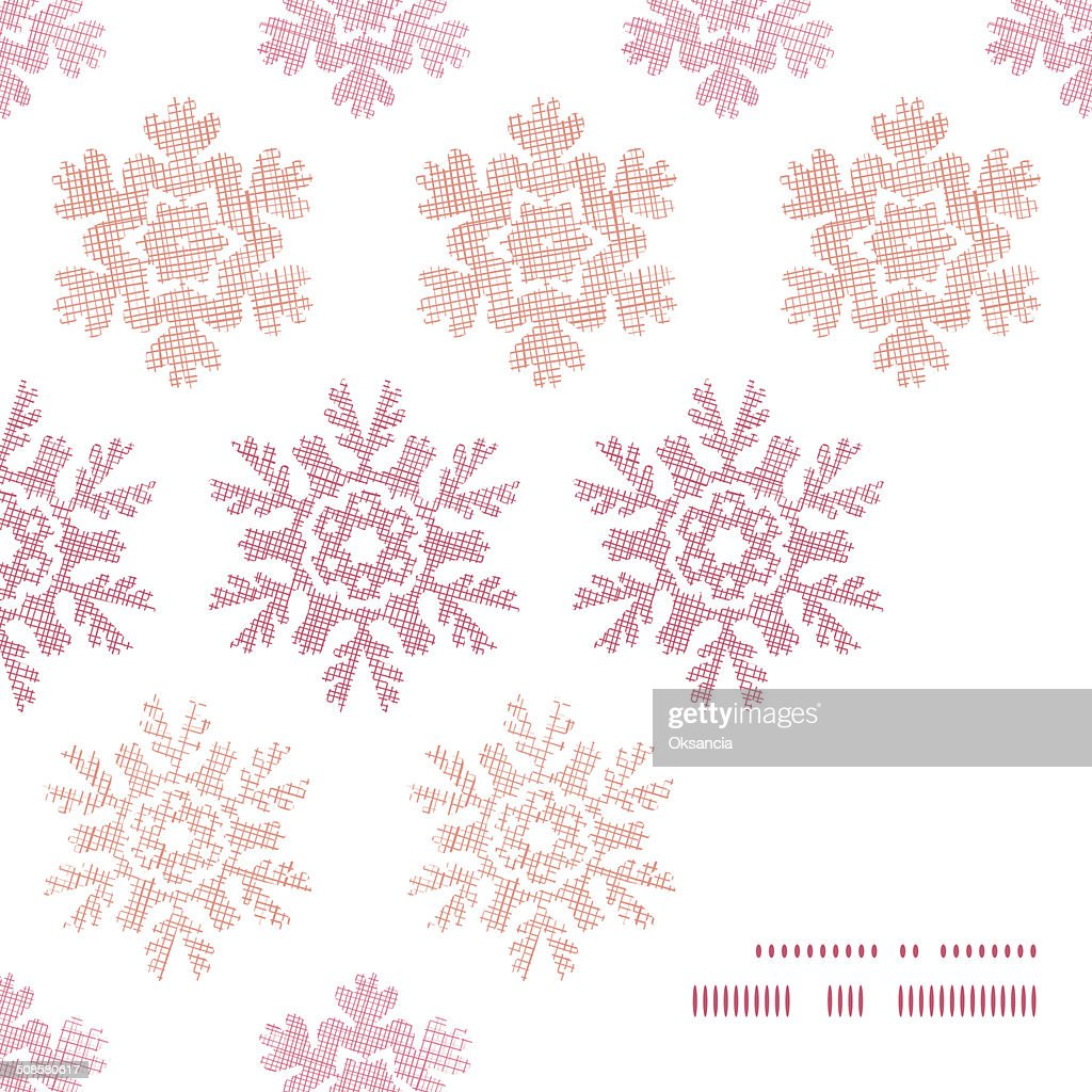 Red Christmas Snowflakes Geometric Textile Texture Frame Corner Pattern Background : Vector Art