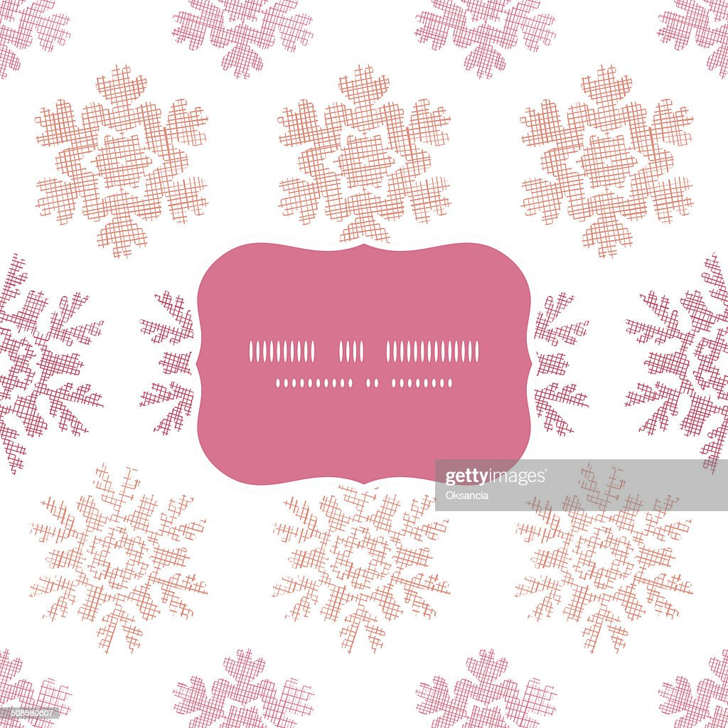 Red Christmas Snowflakes Geometric Textile Texture Frame Seamless Pattern Background : Vectorkunst