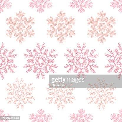 Vermelho de Natal de flocos de neve sem costura padrão geométrico textura de fundo de têxteis : Arte vetorial