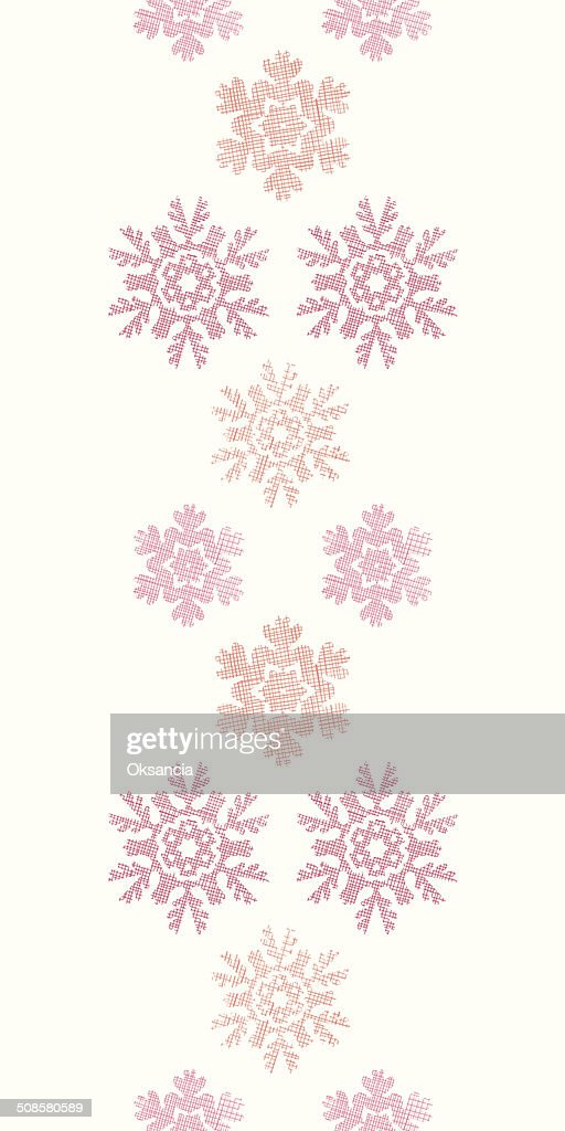 Red Christmas Snowflakes Geometric Textile Texture Vertical Seamless Pattern Background : Vector Art
