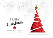 Merry christmas and happy new year red xmas pine tree in low poly style, holiday decoration card design. EPS10 vector.