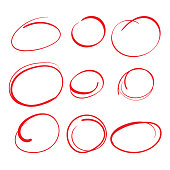 Red Circle Grading Marks with Swoosh Feel - Marking up  the Papers