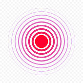 Pain circle red icon for medical painkiller drug medicine. Vector red circles target spot symbol for pill design template of body muscular joint pain and headache health care first aid concept