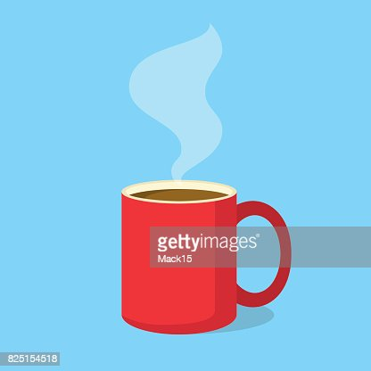 Red coffee mug with steam in flat design style. Vector illustration : stock vector