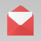 Red color realistic envelope mockup