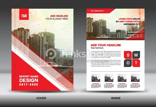 Red Color Scheme With City Background Book Cover Design Template In A4 Business Brochure Flyer Annual Report Magazine Company Profile