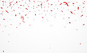 Vector Illustration of red confetti and ribbon background  eps10