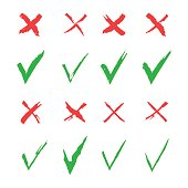 Red cross and green tick vector set. Yes and No icons for websites and applications. Right and Wrong signs isolated on white background. Mark X and V in a flat style.
