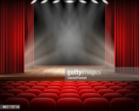 Red curtain and empty theatrical scene : stock vector