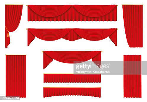 Red curtains, realistic set - stock vector. : stock vector