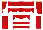 Red curtains, realistic set - stock vector.