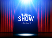 Red curtains theater scene stage backdrop. Vector show background performance concert. Light party design of stage.
