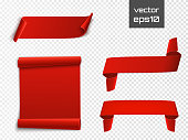 Red curved paper blank banners isolated on transparent background. Vector illustration