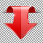 Red DOWN arrow. 3d shiny icon. Vector illustration isolated on transparent background