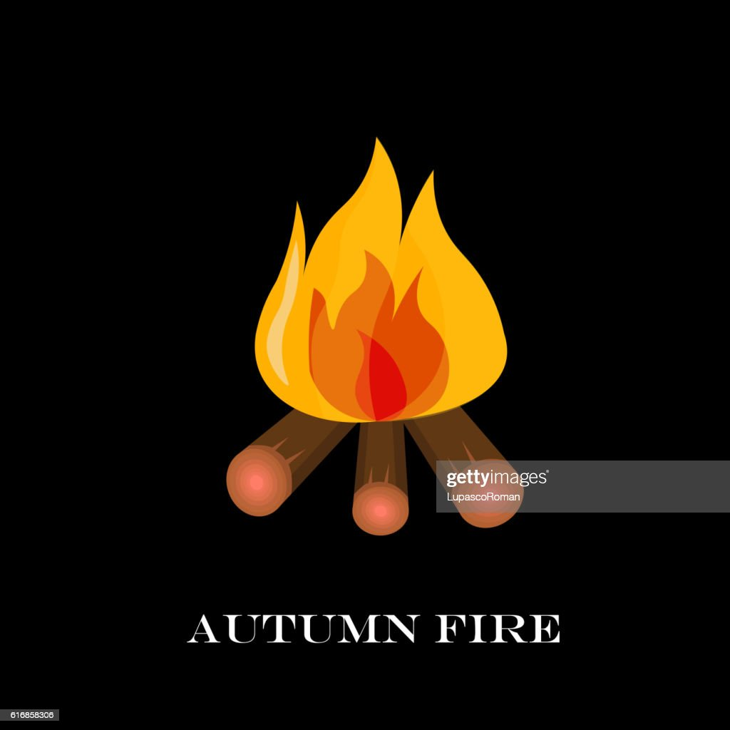 Red Fire icon isolated background. Modern simple, flat blazing : Vector Art