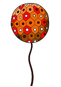 red flower ball cute cartoon art
