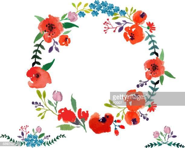 Red  Flower Watercolor Wreath