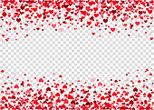 Red flying heart confetti, Valentines day background.  Design element for romantic love greeting card, Women's Day postcard, wedding invitation. Vector  texture.