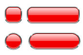 Red glass buttons with chrome frame. Set of blank shiny 3d web icons. Vector illustration isolated on white background
