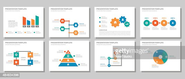 red green orange blue multipurpose presentation template flat, Powerpoint templates