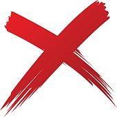 X Red handwritten brush isolated vector eps10