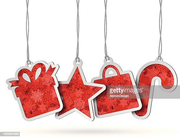 Red hanging Christmas tags