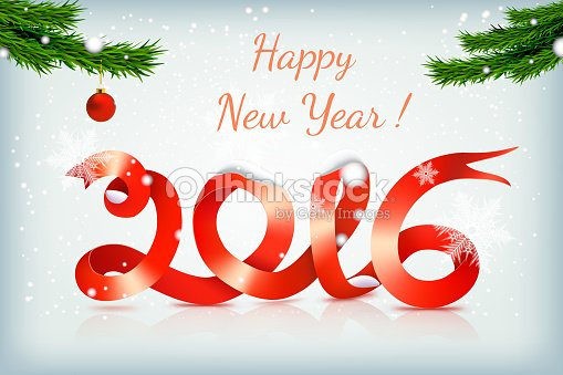 red happy new year ribbon on snowing background vector art