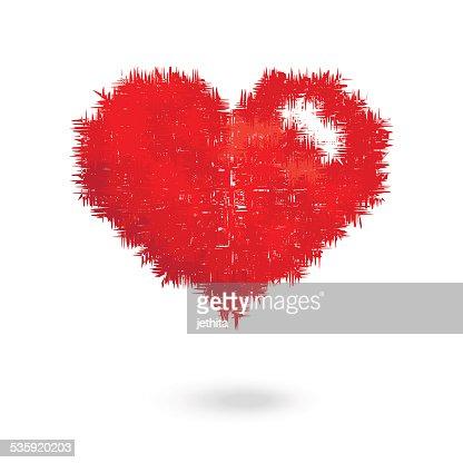 red heart hair vector illustration : Vector Art