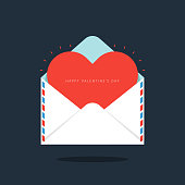 Red heart in envelope Valentine's day concept flat design. Design element can be used for background, poster, greeting card, brochure, leaflet, flyer, print, backdrop, vector illustration