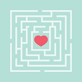 Red heart in the maze. Abstract vector illustration.