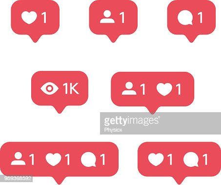 Red Heart like, new message bubble, friend request quantity number notifications icons templates. Social network app icons. : stock vector