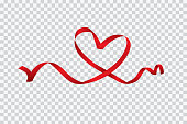 Red heart ribbon isolated on transparent background, vector art and illustration.