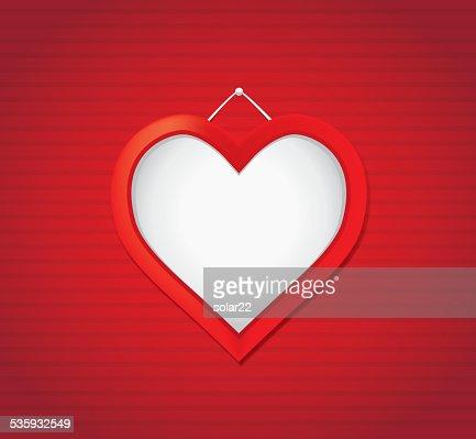 Red Heart Shape Frame : Vector Art