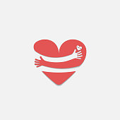 Red heart shape with hand embrace.Hug yourself logo.Love yourself logo.Love and Heart Care icon.Happy valentines day concept.Healthcare & medical concept.Vector illustration