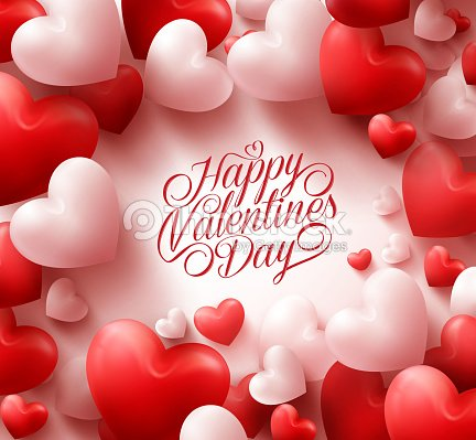 red hearts background with sweet happy valentines day greetings vector art - Valentine Day Greetings