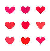 Red hearts icons. Vector illustration