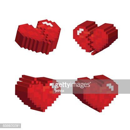 3D red hearts pixel art stlye : Vector Art