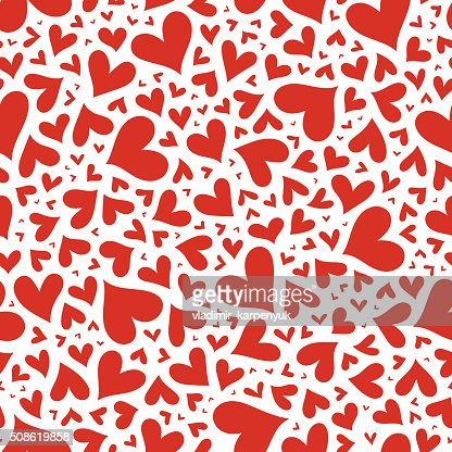 Red hearts seamless pattern. Valentine's day vector. : Vector Art