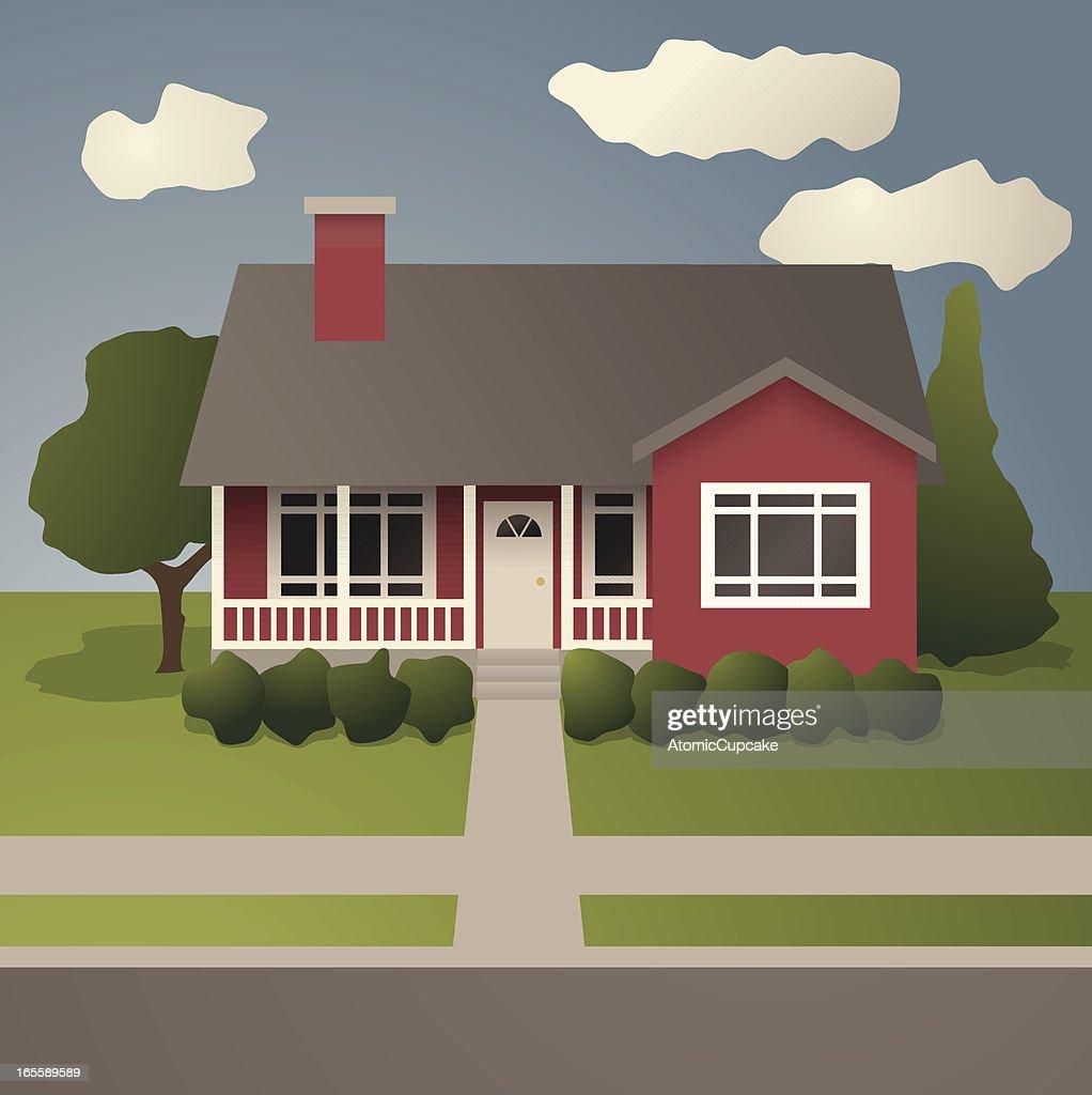 Rouge maison avec porche couvert clipart vectoriel getty for Maison avec porche