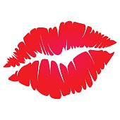 illustration of red kiss print on white background