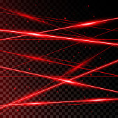Background from Red Laser Beams on transparent black background.