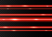 Red laser beams with  flashes  isolated on black transparent  background. Vector glowing  neon lights  effect.