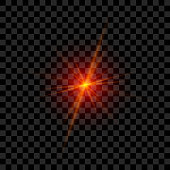 Red Laser Glowing in realistic Style. Vector transparent Light Rays