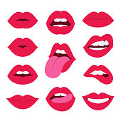 Vector illustration of sexy woman's flat lips expressing different emotions, such as smile, kiss, half-open mouth, biting lip, lip licking, tongue out. Isolated on white.