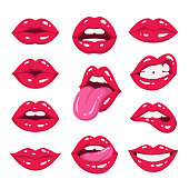 Vector illustration of sexy woman's lips expressing different emotions, such as smile, kiss, half-open mouth, biting lip, lip licking, tongue out. Isolated on white.