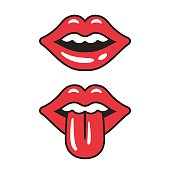 Cartoon red open lips with tongue sticking out, vector icon. Isolated illustration of sensual female mouth.